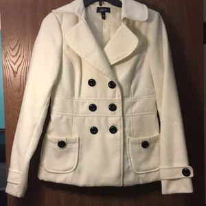 White IZ Byer Pea Coat with Black Buttons